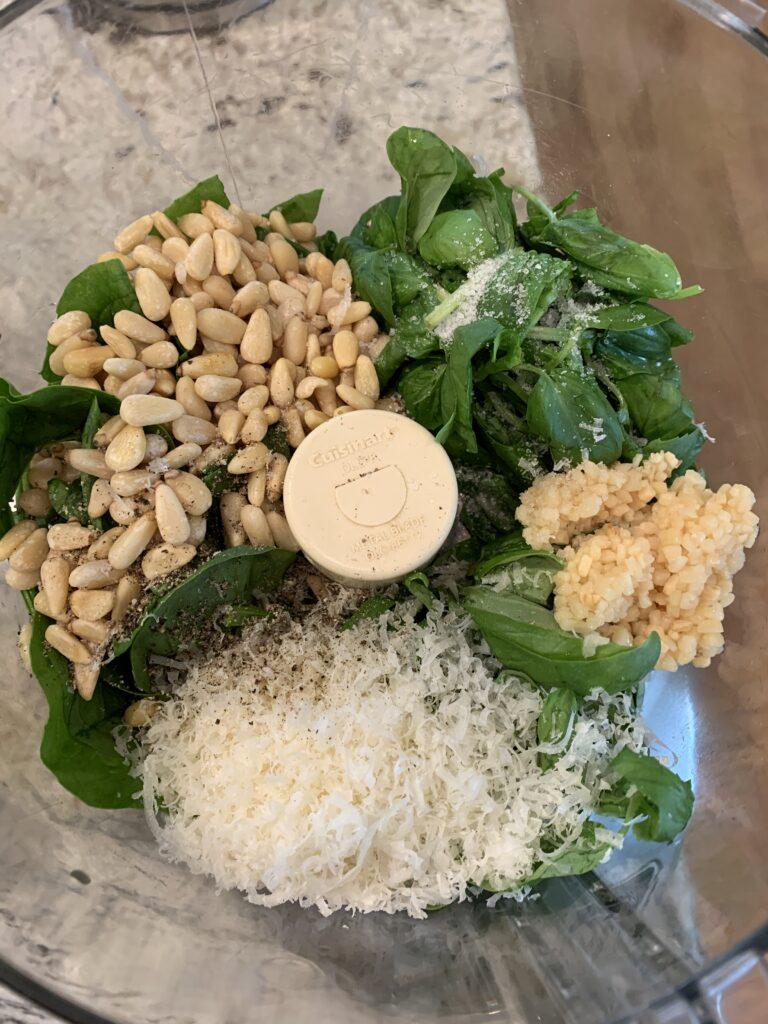 Pesto ingredients before blending