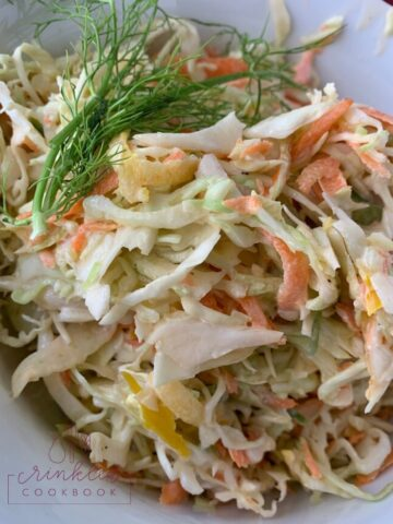 A serving of crunchy cole slaw in a bowl