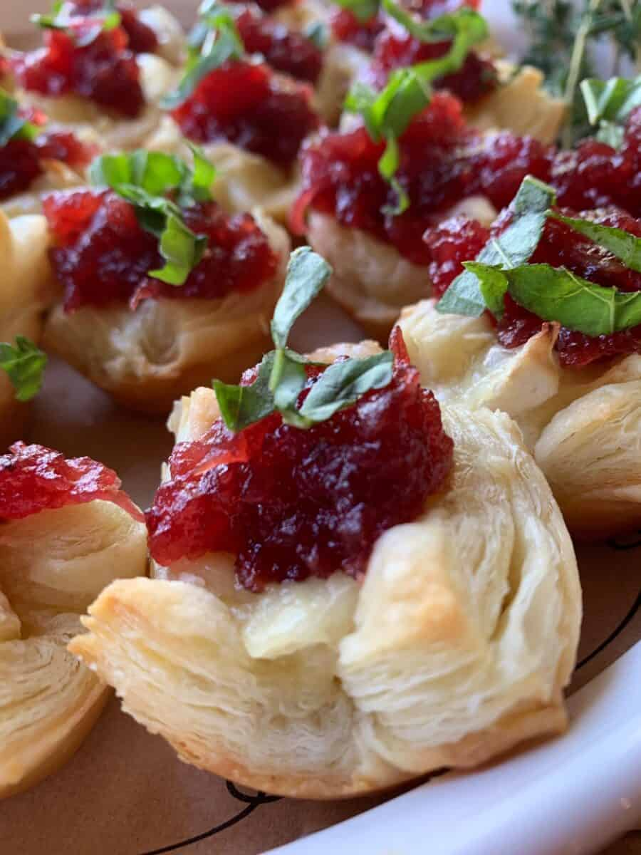 Close up shot of a cranberry brie appetizer