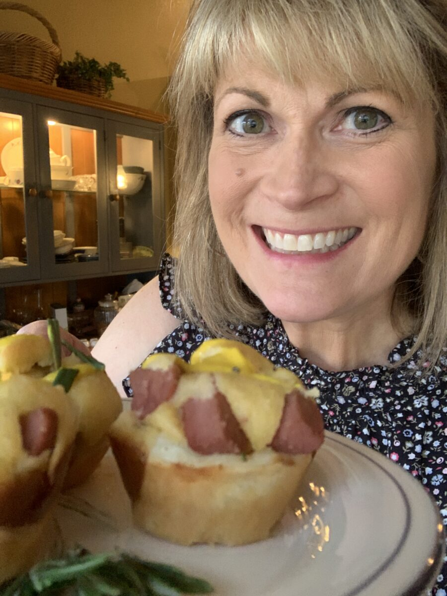 Melinda with corndogs