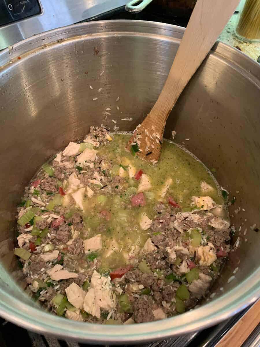 Jambalaya ingredients in a large stock pot.