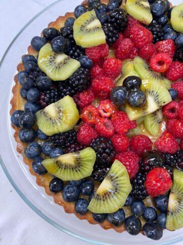 Fruit arranged on a shortbread crust.