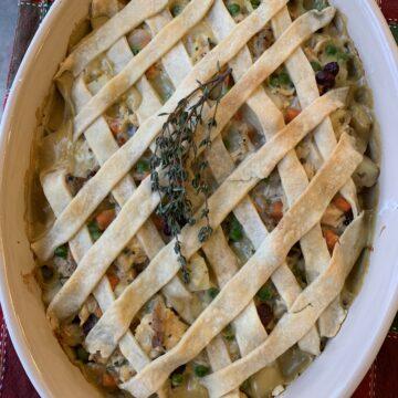 Large dish of turkey pot pie