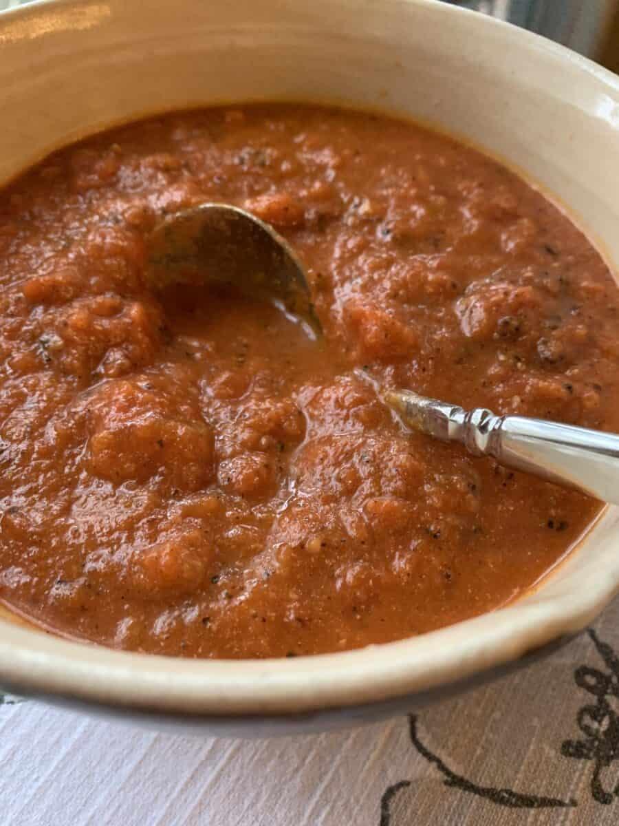 Tomato cream sauce in a small ball.