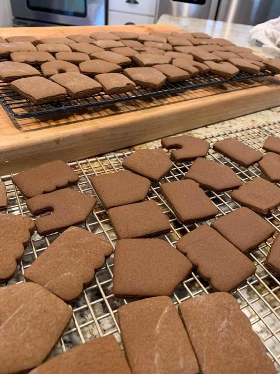 Baked portions of the mini-gingerbread houses, out of the oven.