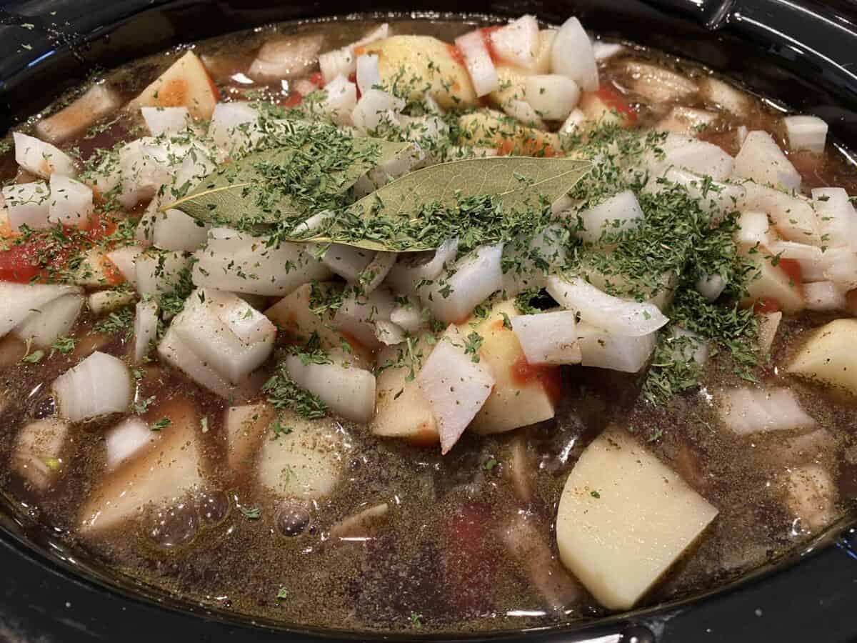 Stew ingredients in the Crockpot